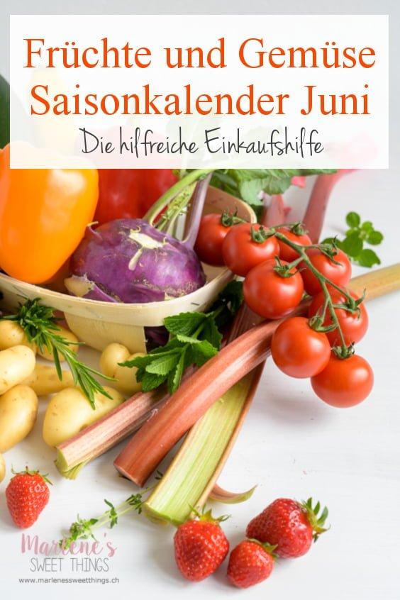 Früchte und Gemüse Saisonkalender Juni